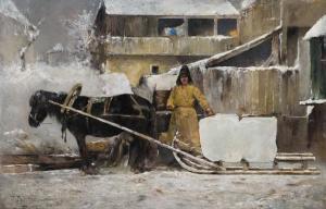 """Картина художника Ивана Похитонова """"Заготовка льда"""" (1900 г.)."""